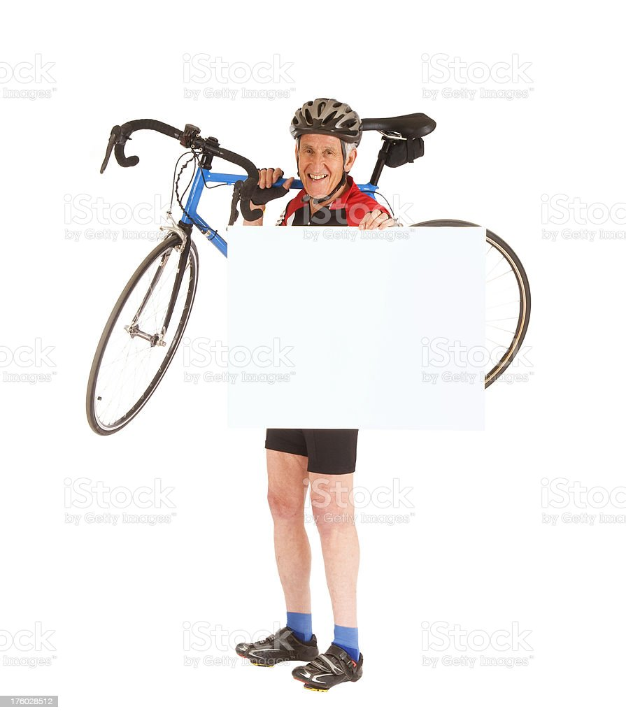 Senior Cyclist Holding Blank Sign royalty-free stock photo