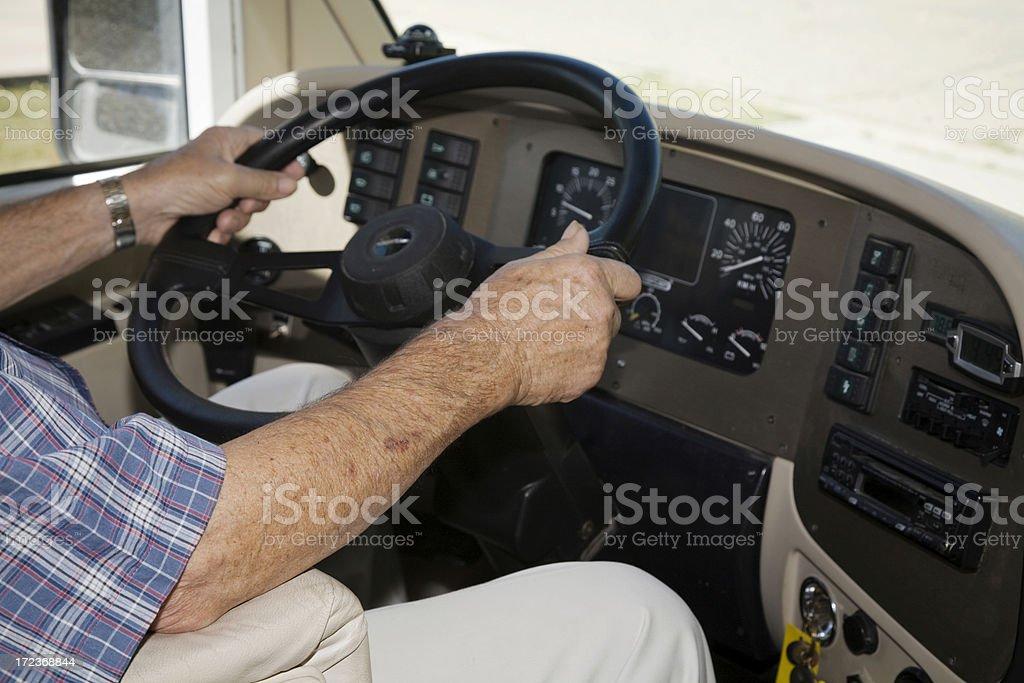 Senior driving RV royalty-free stock photo