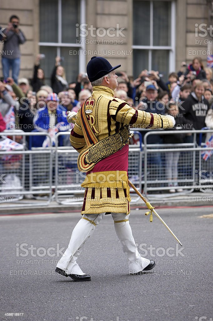 Senior Drum Major at the Queen's Diamond Jubilee State procession royalty-free stock photo