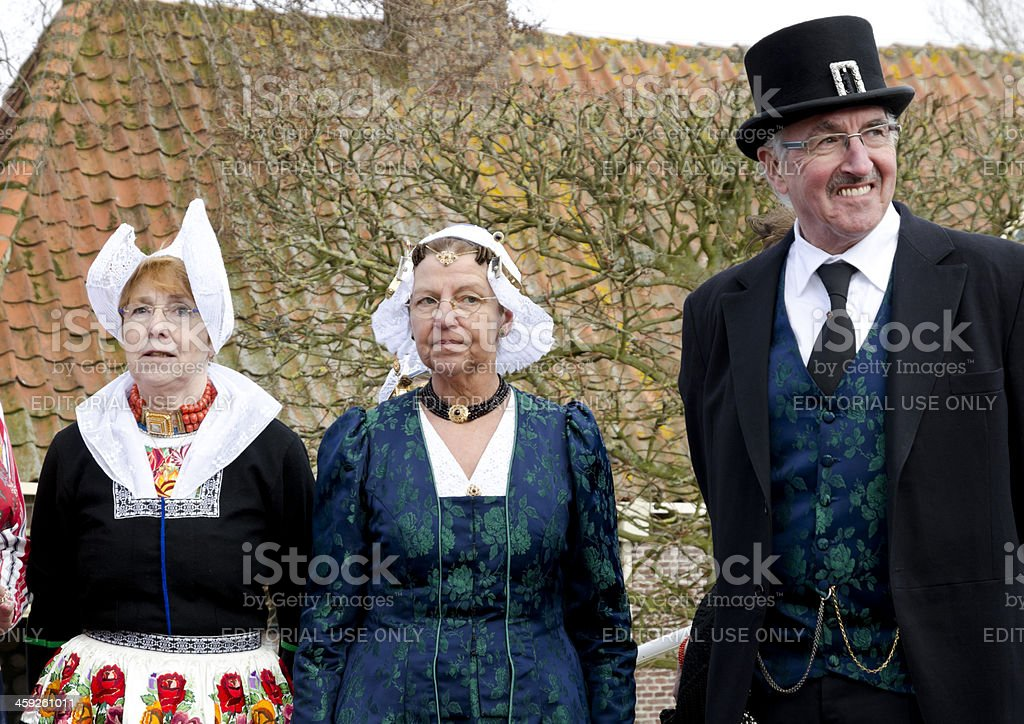 Senior Dutch people with traditional clothes royalty-free stock photo