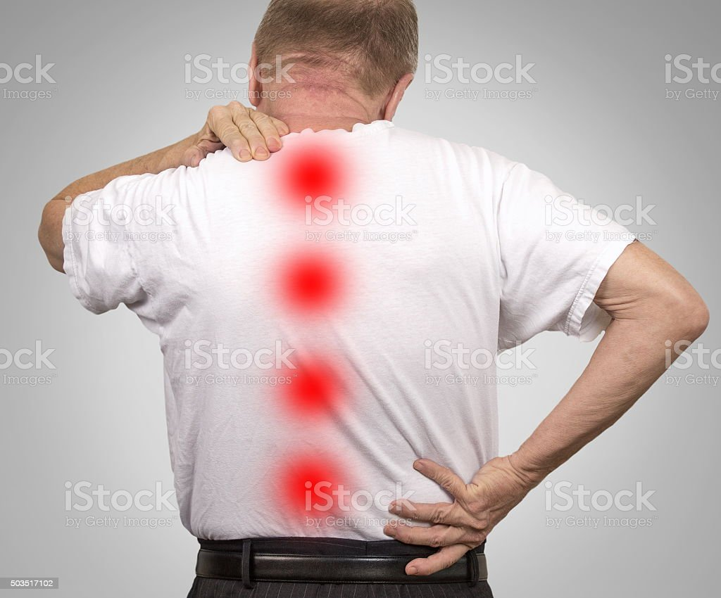 Senior elderly man with backache stock photo
