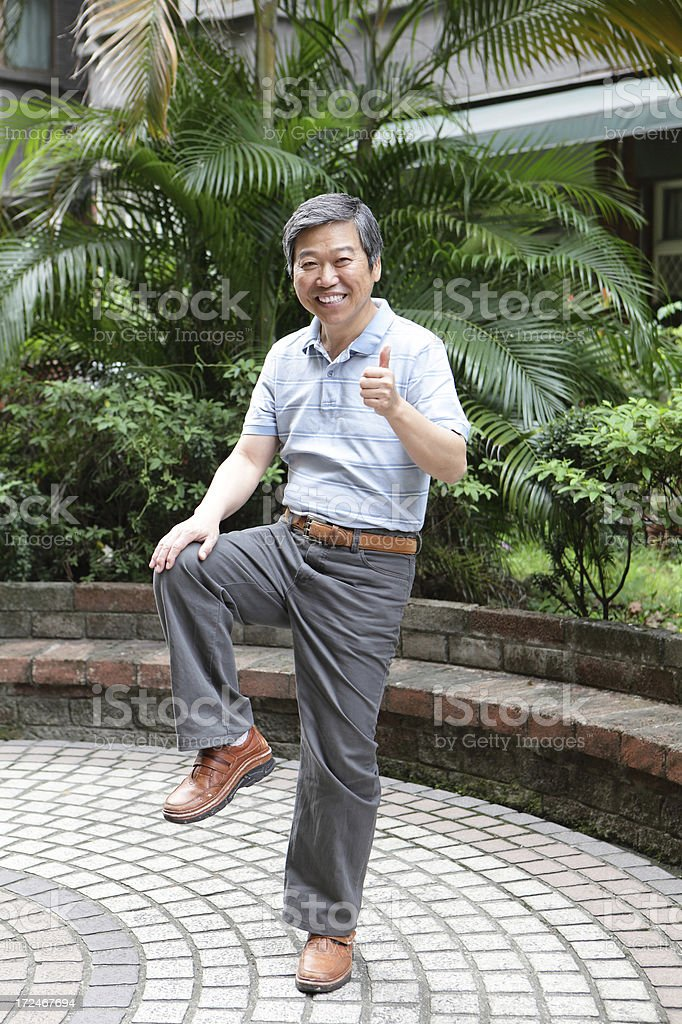 Senior elderly man with health knee stock photo
