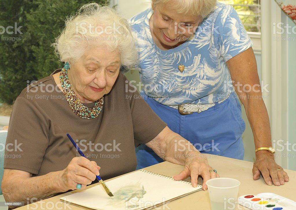 Senior Enjoys Her Hobby stock photo