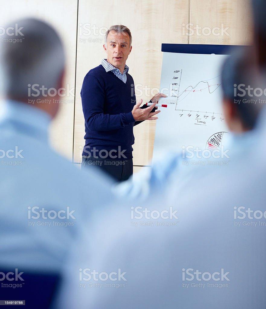 Senior executive giving presentation to group royalty-free stock photo