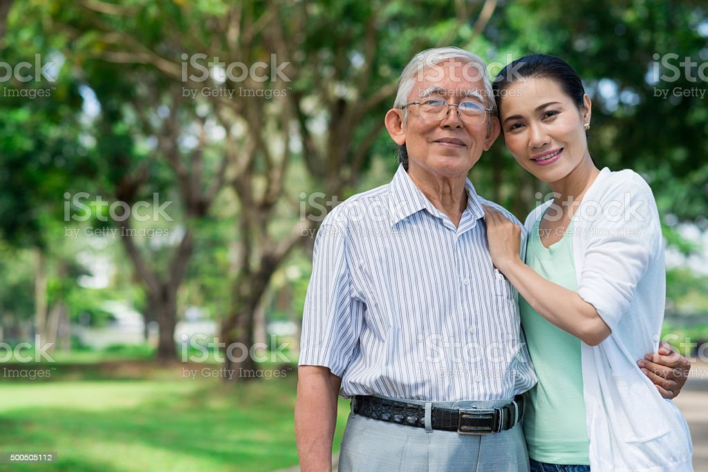 Senior father and his daughter stock photo