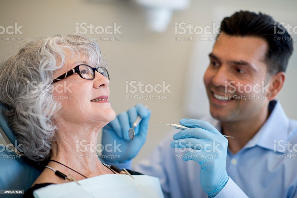 Senior Female at the Dentist stock photo