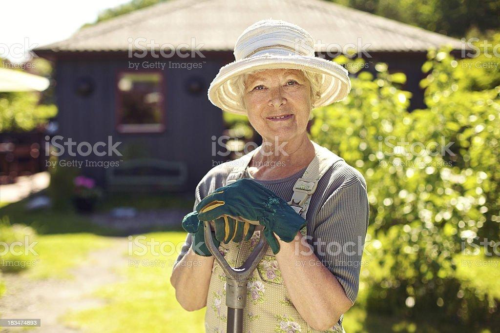 Senior female gardener in backyard with shovel stock photo