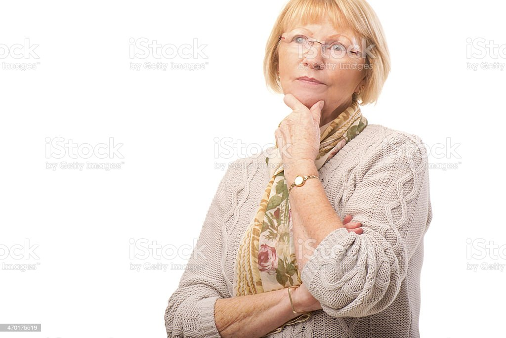 senior female thinking royalty-free stock photo