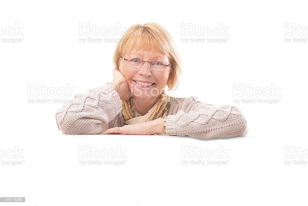 senior female with blank banner royalty-free stock photo