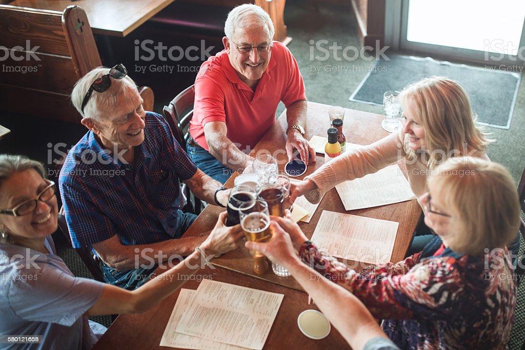 Senior Friends Happy Hour stock photo