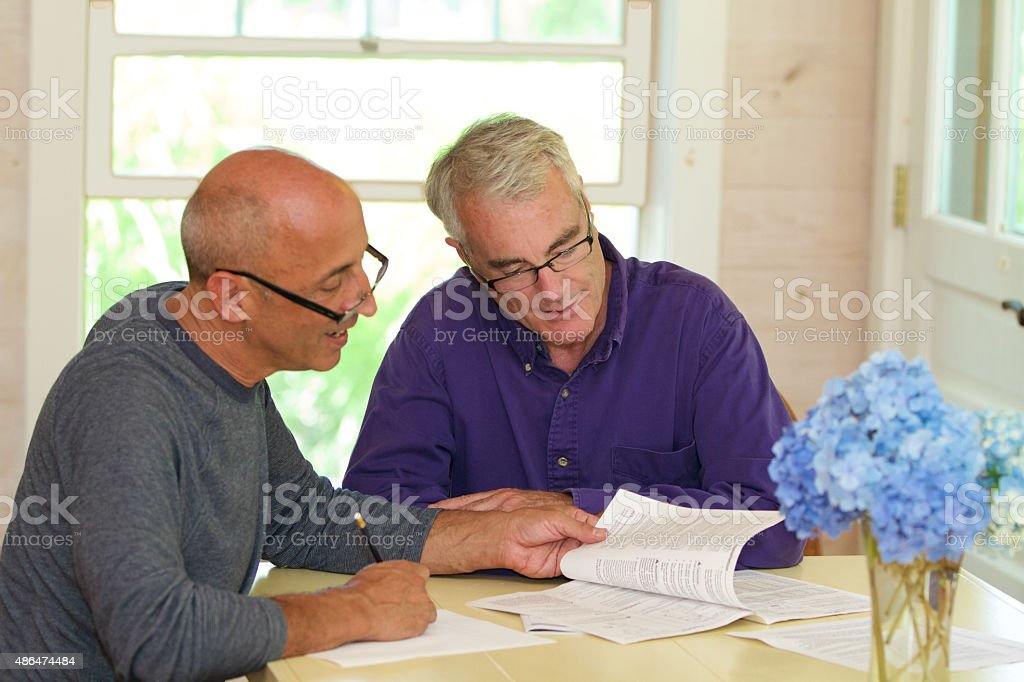 Senior Gay Male Couple Working Together on Financial Documents stock photo