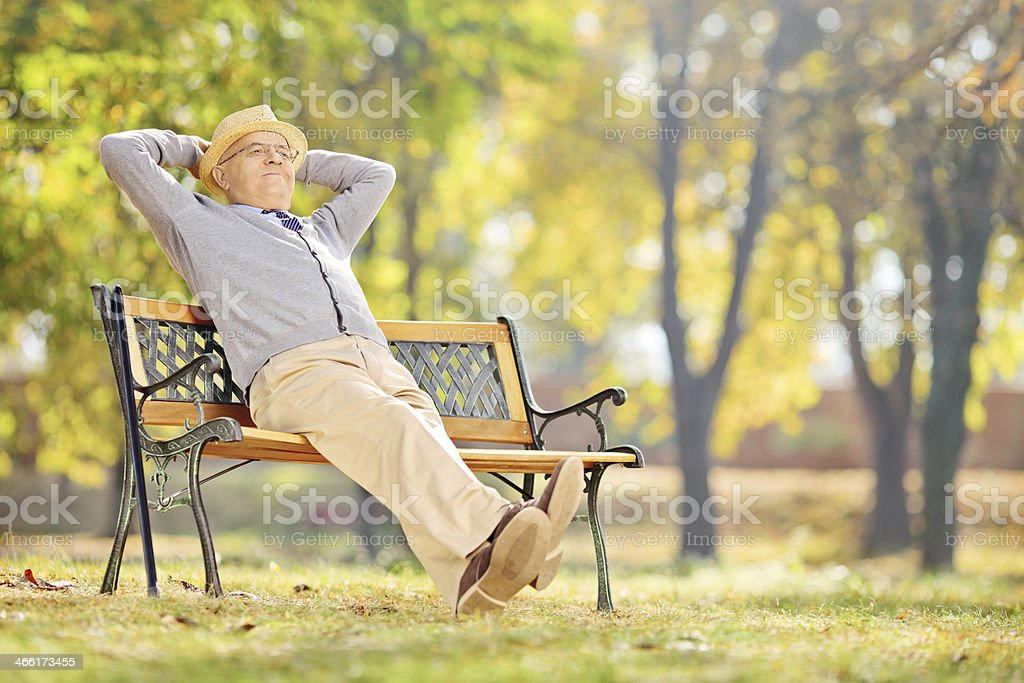 Senior gentleman sitting on a bench and relaxing in park stock photo
