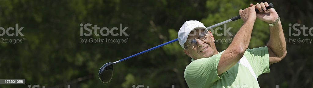 Senior golfer banner royalty-free stock photo
