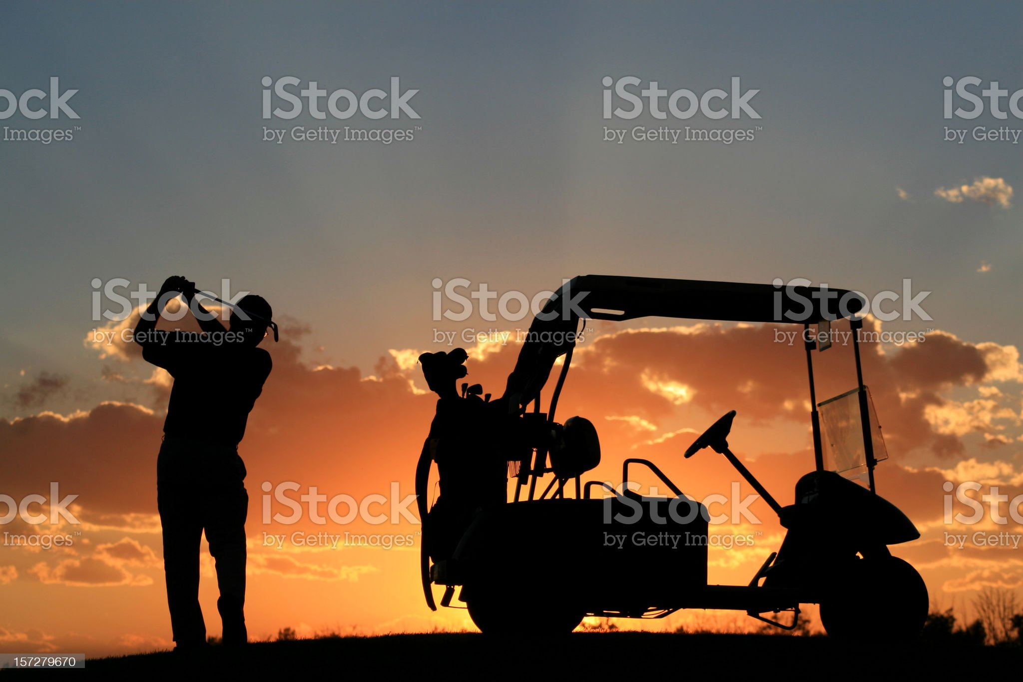 Senior Golfer Silhouette royalty-free stock photo