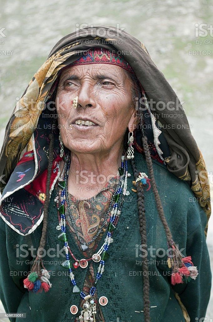 Senior Gypsy Woman Portrait Northern India royalty-free stock photo