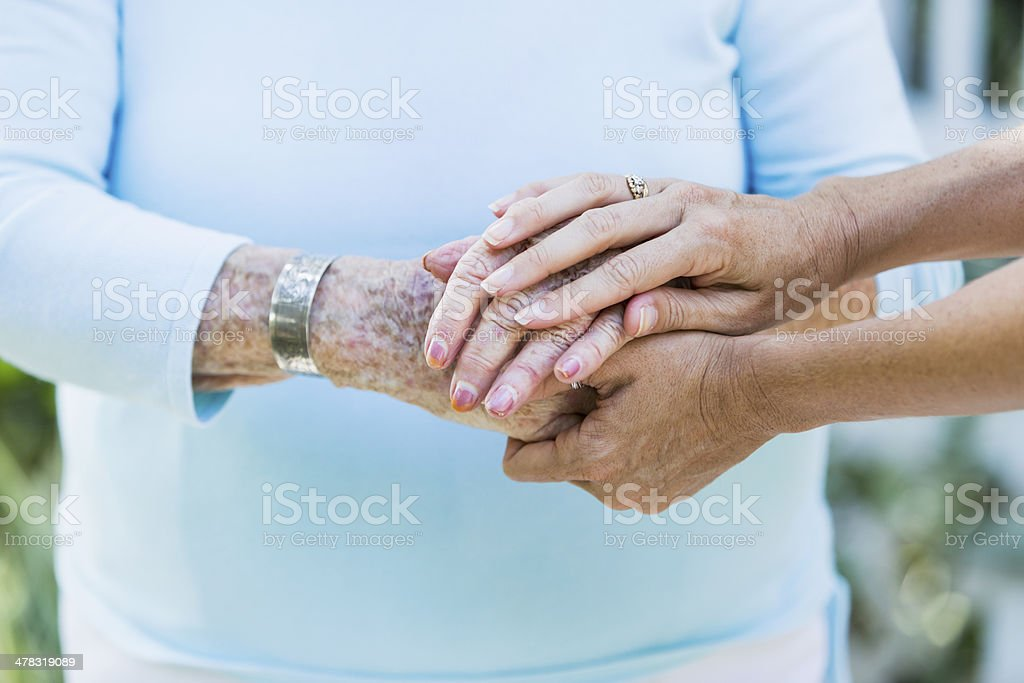 Senior hands stock photo