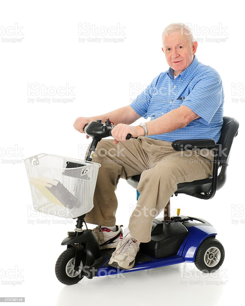 Senior Happy with His Scooter stock photo