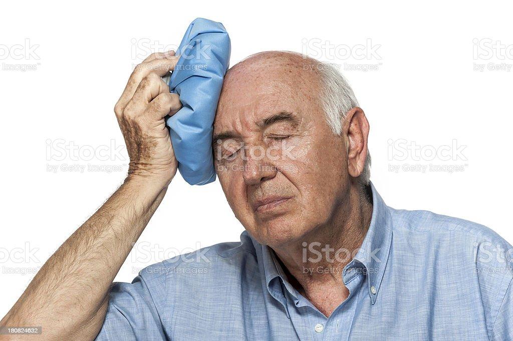 Senior having terrible headache stock photo