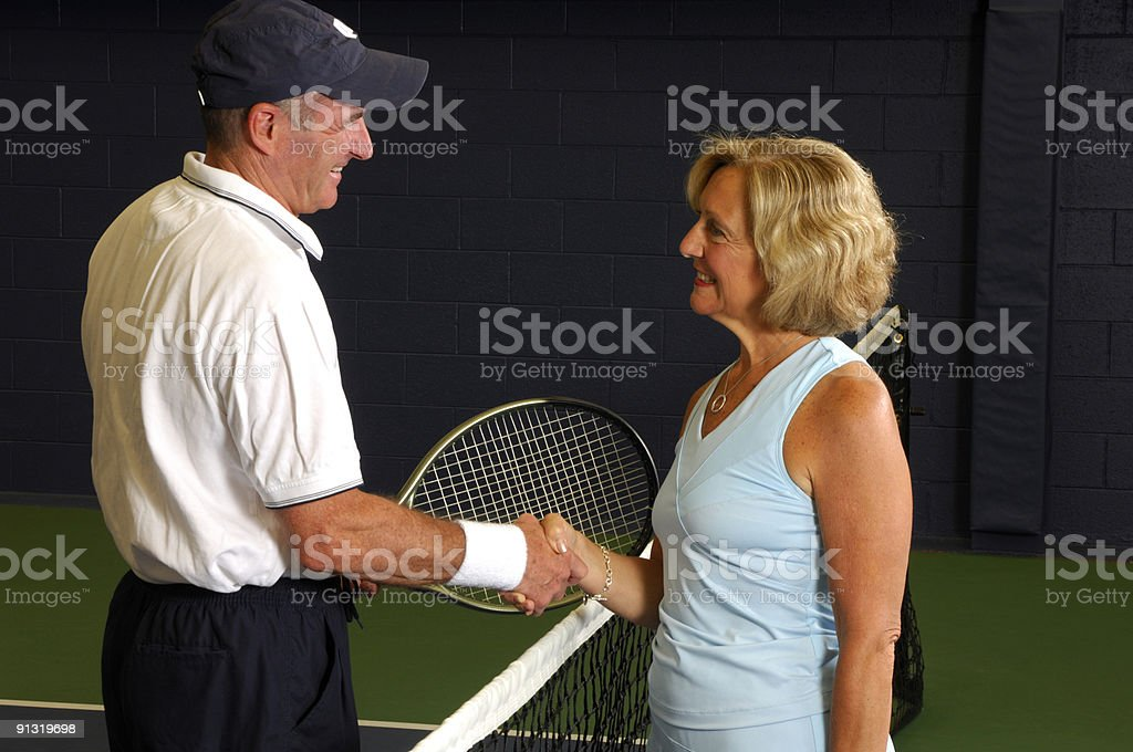Senior Health and Fitness Tennis Match Congratulations royalty-free stock photo