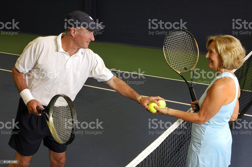 Senior Health and Fitness Tennis Match royalty-free stock photo