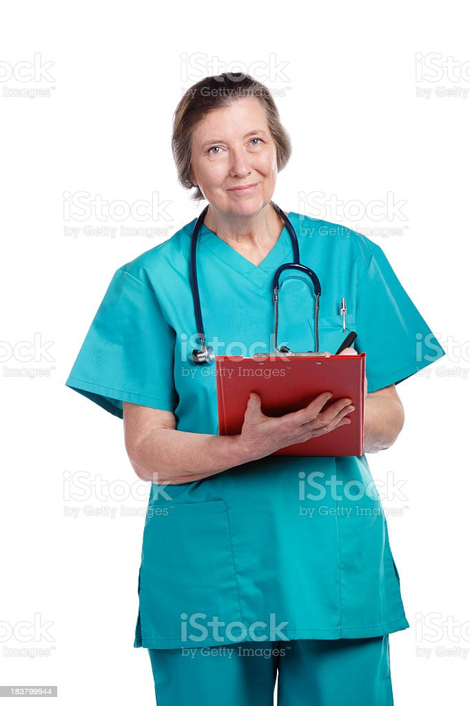 Senior Healthcare Worker With Clip Board Documenting stock photo