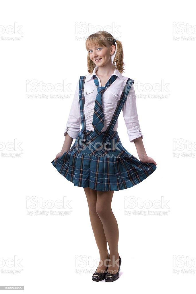 Senior high school student in uniform is posing royalty-free stock photo