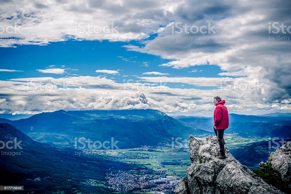 Senior Hiker in Julian Alps, Slovenia, Europe, Europe stock photo