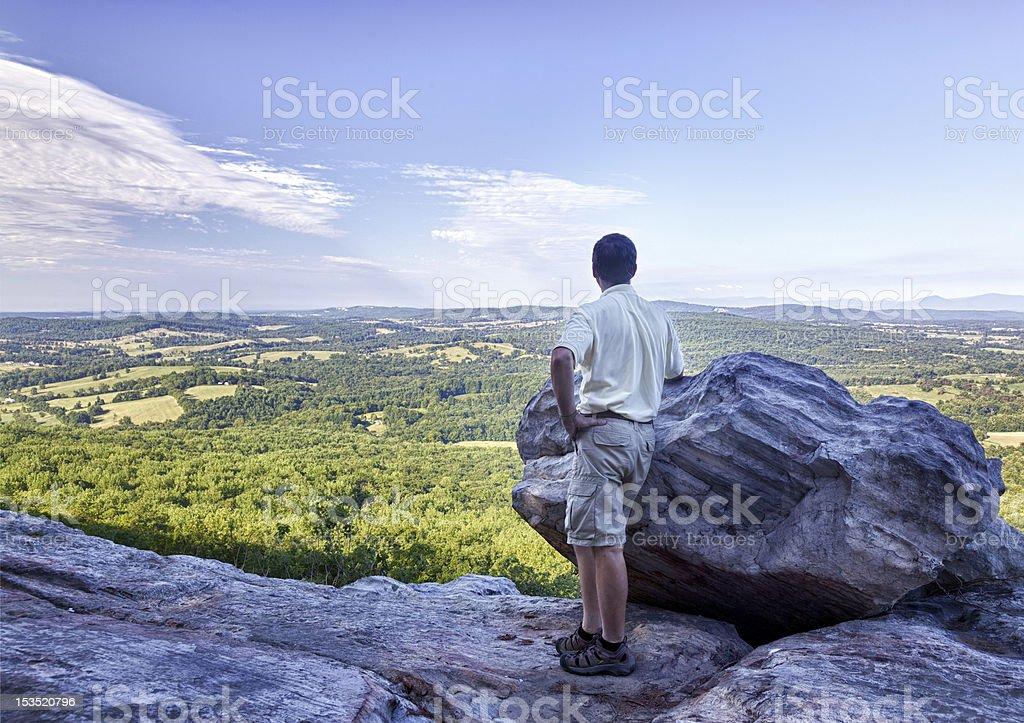 Senior hiker overlooks Virginia stock photo