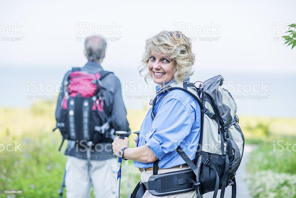 Senior hiking royalty-free stock photo