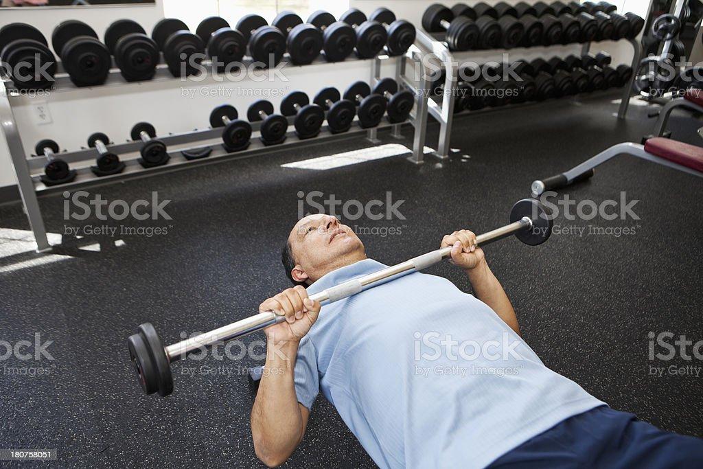 Senior Hispanic man at fitness center royalty-free stock photo