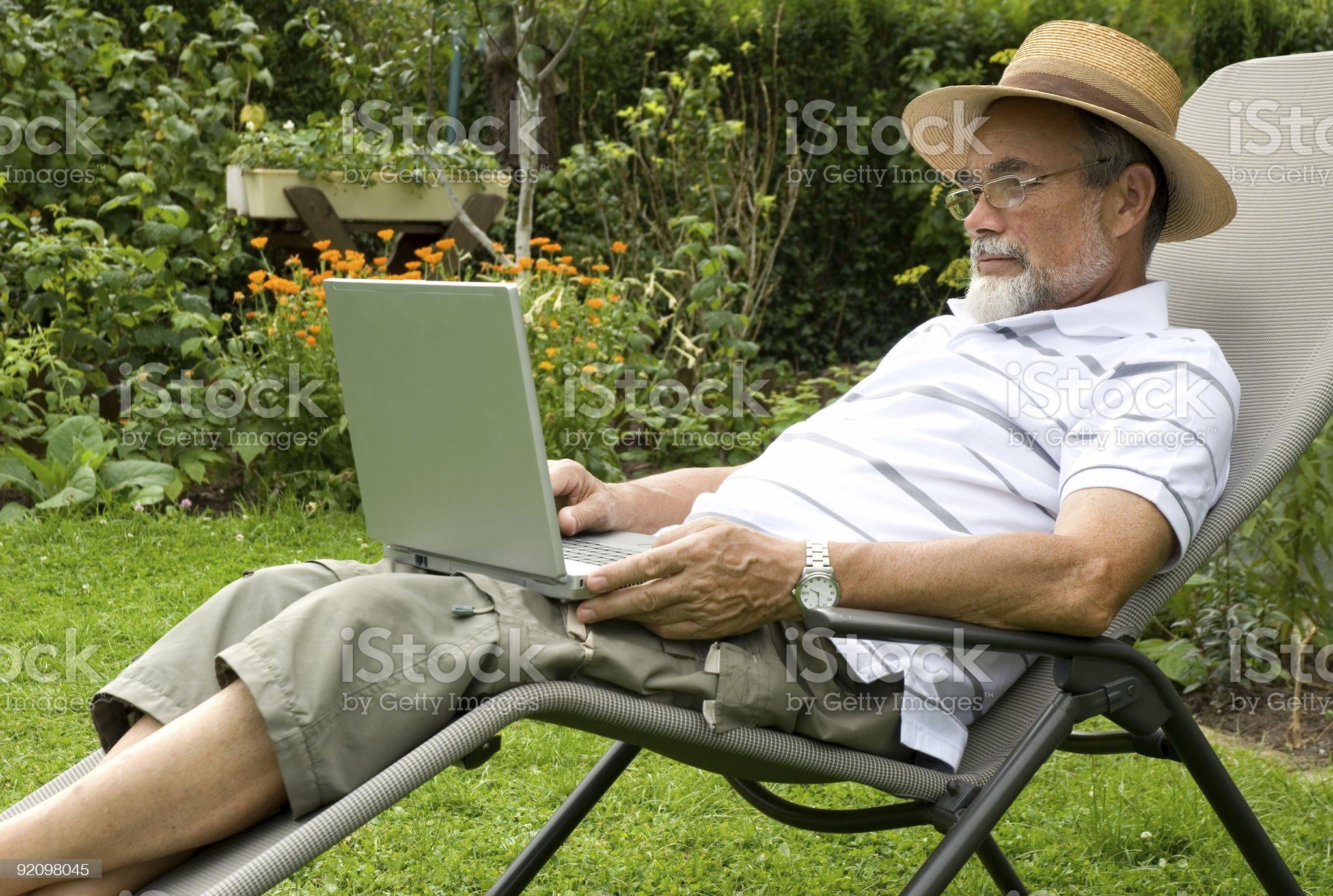 senior  in garden royalty-free stock photo