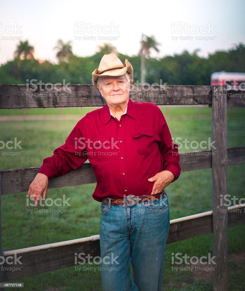 Senior in his ranch stock photo