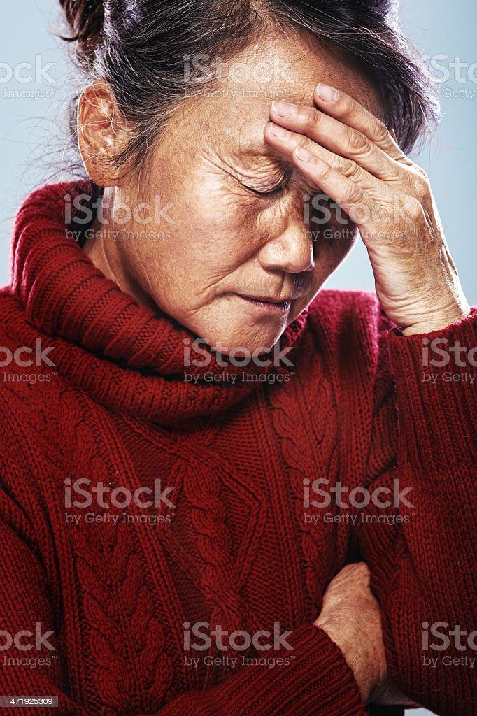 senior in pain stock photo