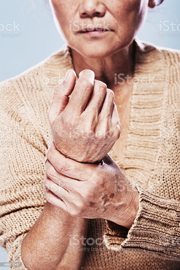 senior in pain stock photo