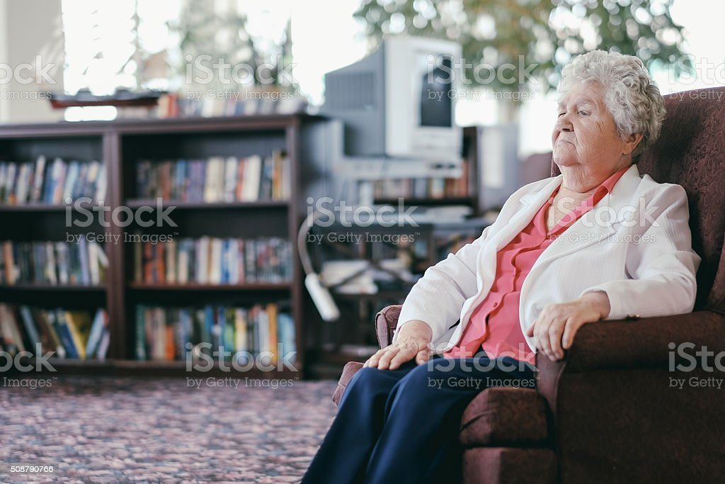 Senior in the retirement home stock photo