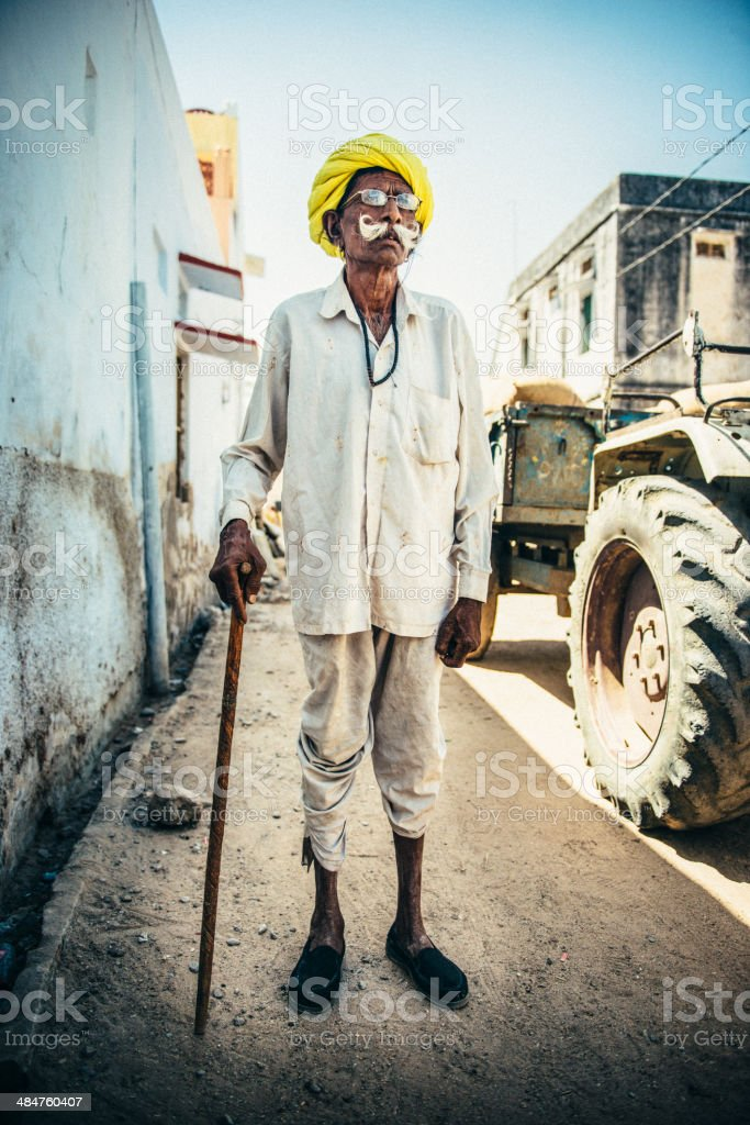 Senior Indian Farmer stock photo