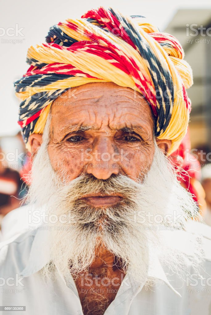 Senior Indian Man with Colorful Turban Real People Portrait India stock photo