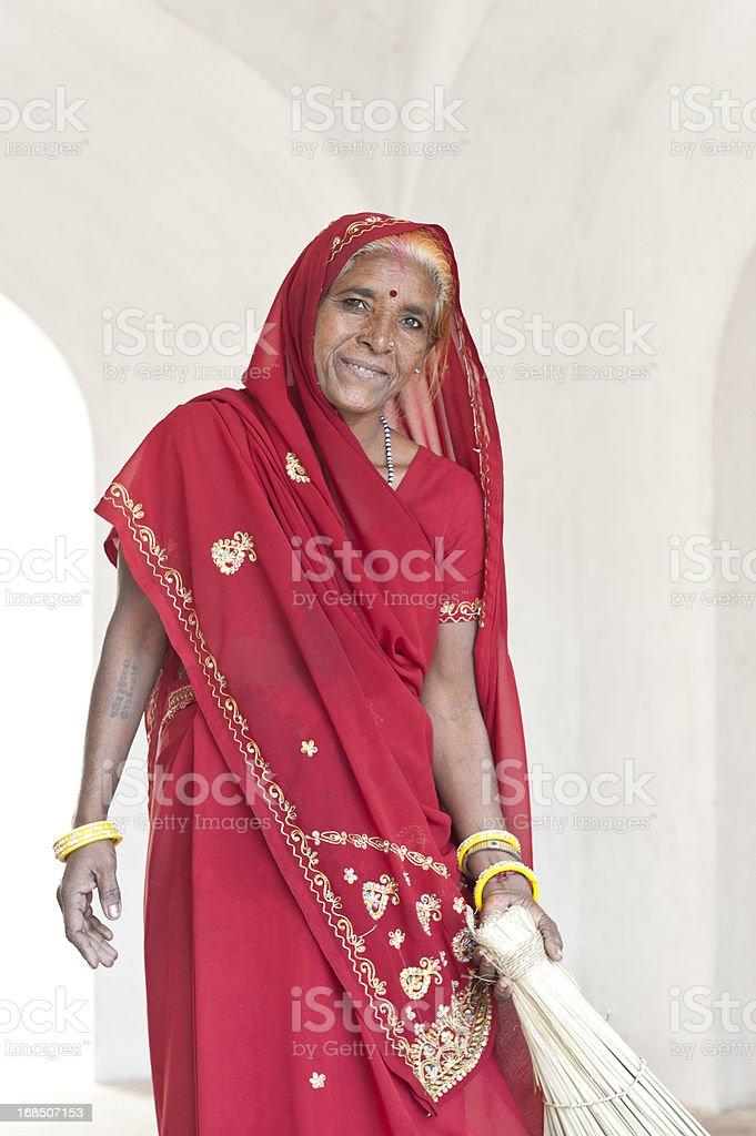 Senior Indian Woman in Beautiful Red Sari stock photo