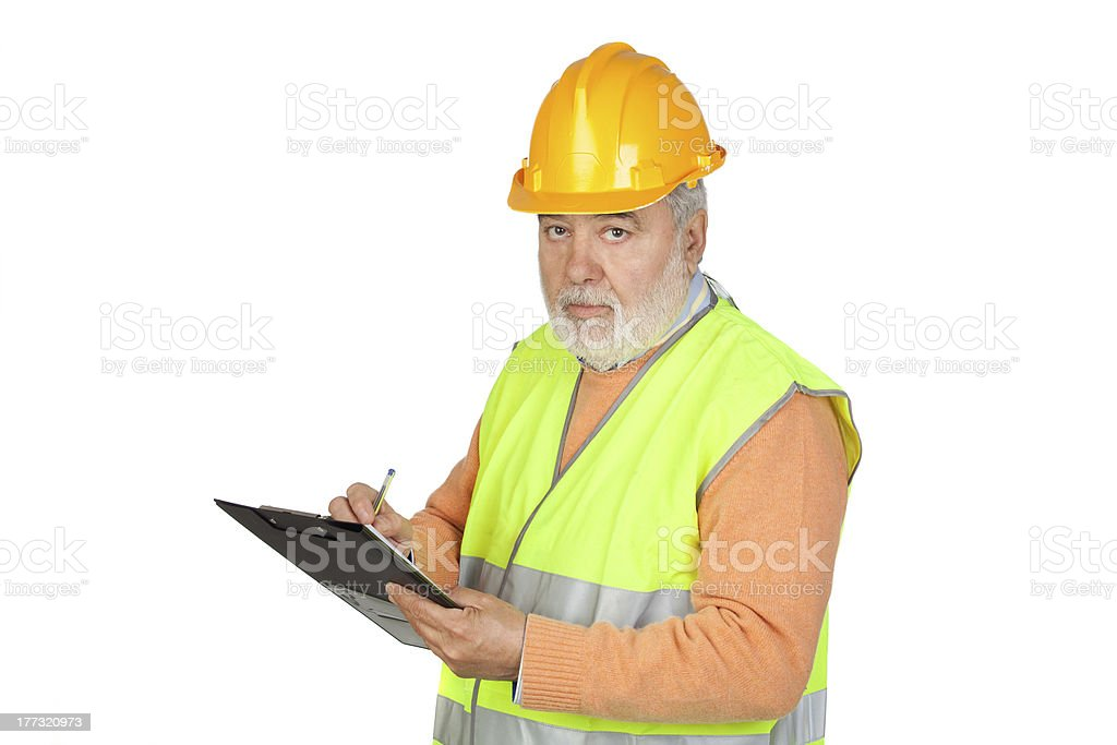Senior inspector with hoary hair and clipboard stock photo