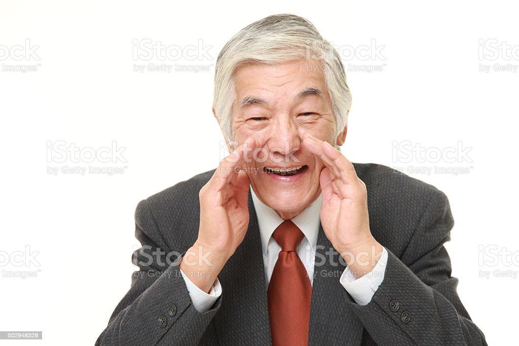senior Japanese businessman shout something stock photo