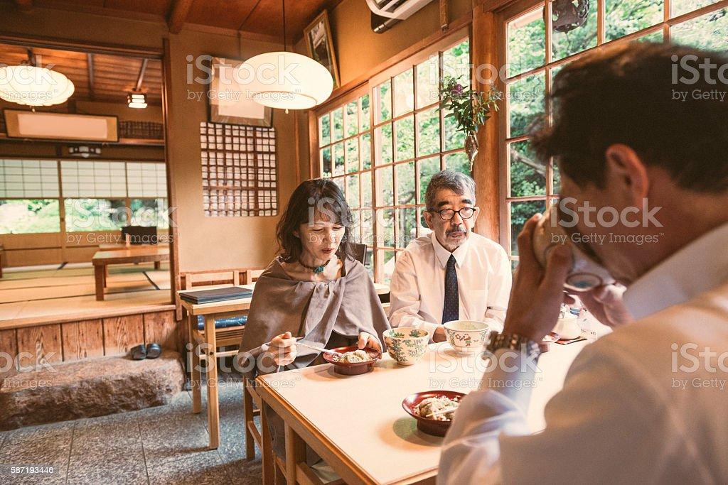 Senior Japanese Couples Drink Green Tea and Enjoy Company Kyoto stock photo