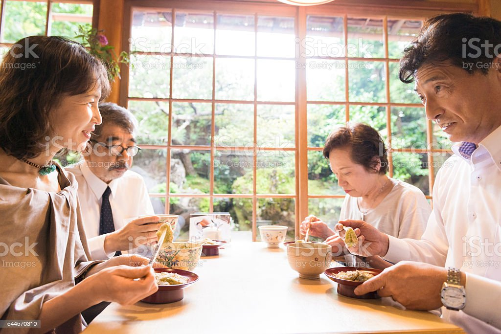 Senior Japanese Couples Eating in a Restaurant Kyoto Japan stock photo