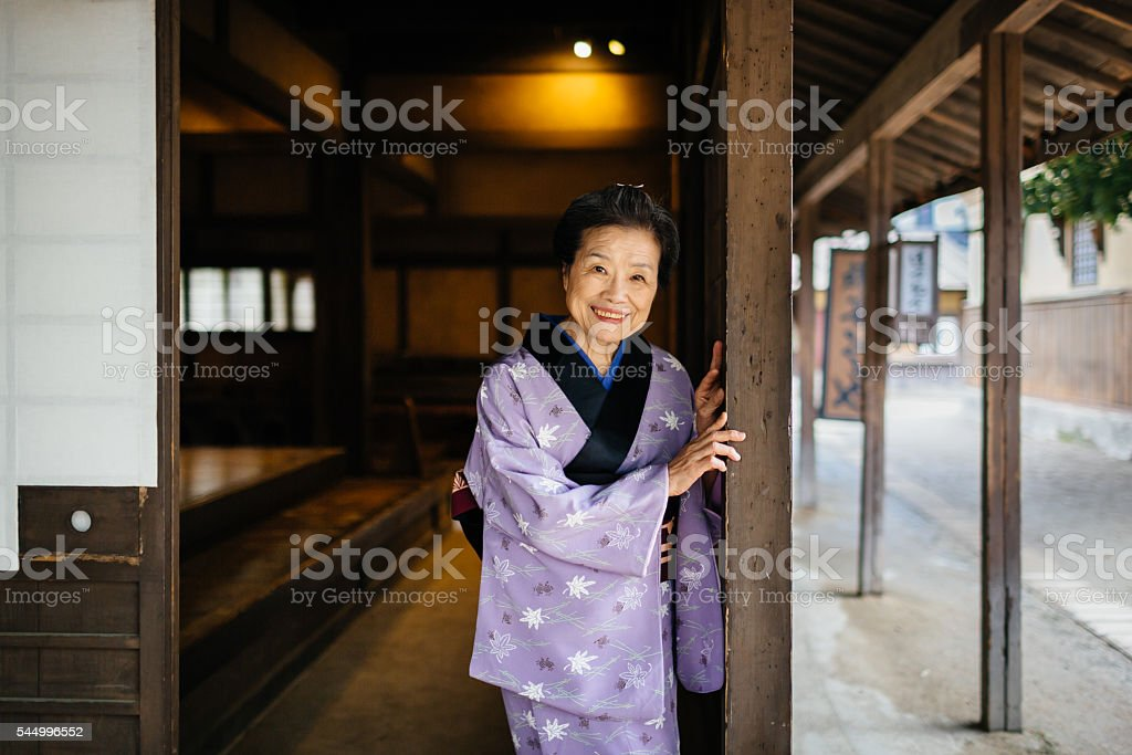 Senior japanese woman in Edo Period Town stock photo