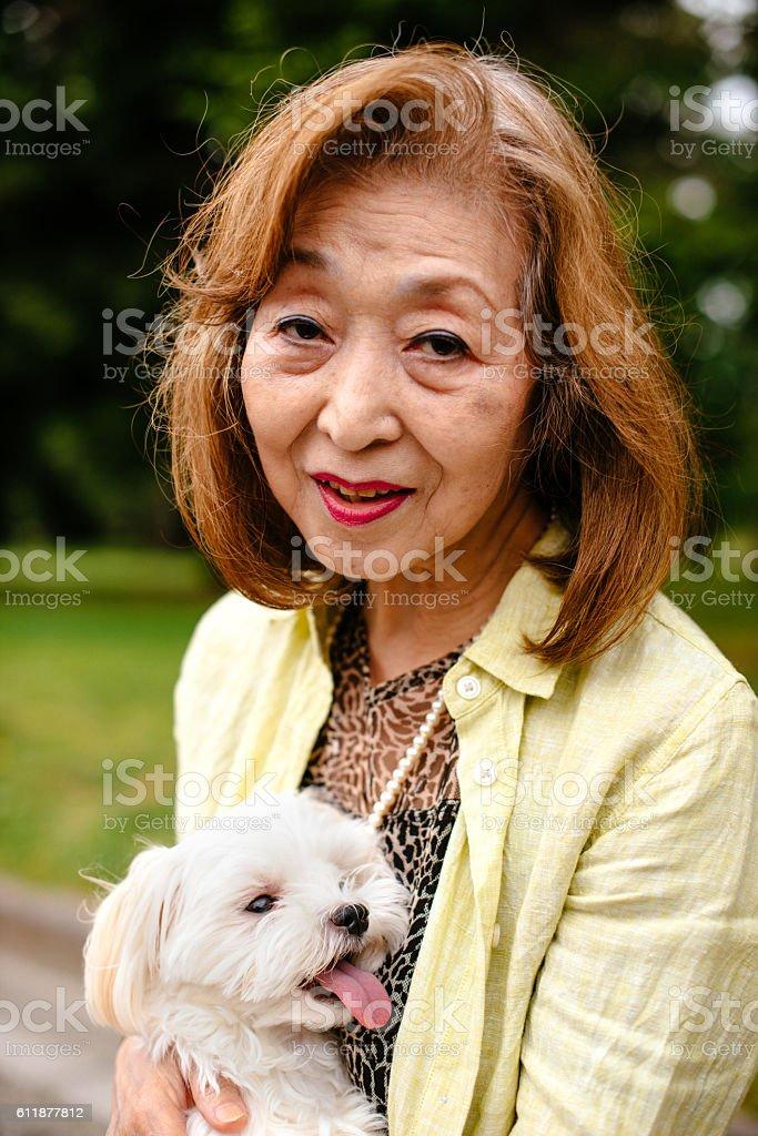 Senior japanese woman living healthy life stock photo