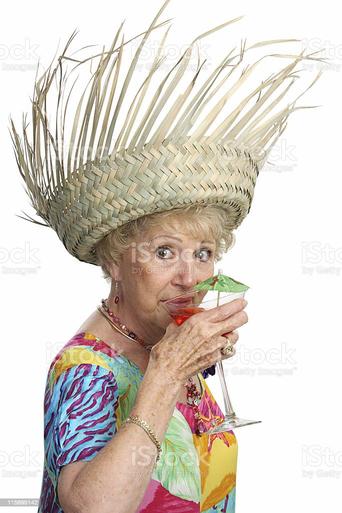 Senior Lady Sips Cocktail royalty-free stock photo