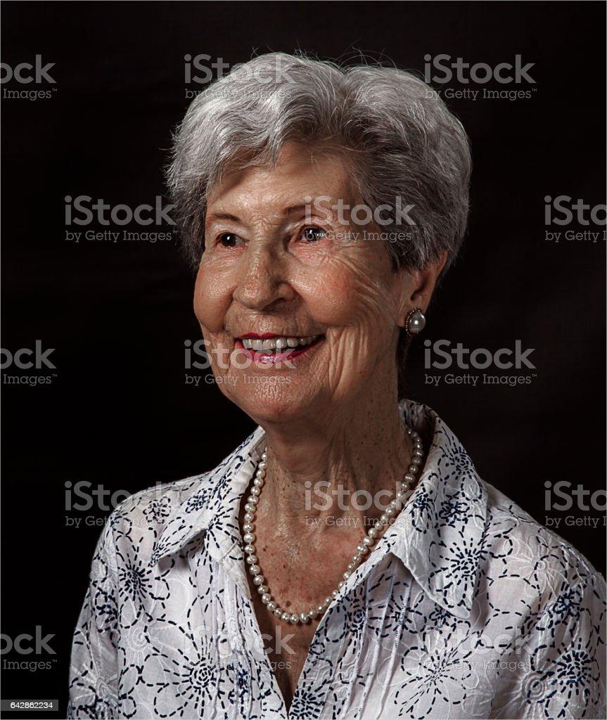 Senior Lady Smiling stock photo