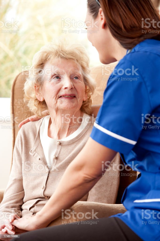 Senior Lady with Carer royalty-free stock photo