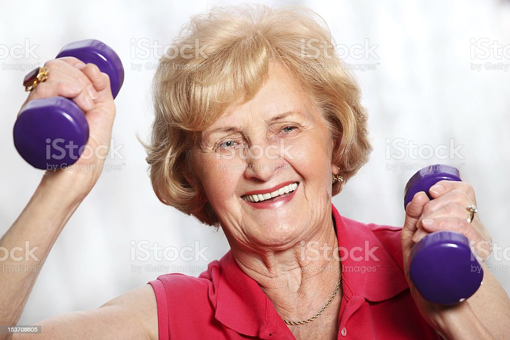 Senior lady working out royalty-free stock photo
