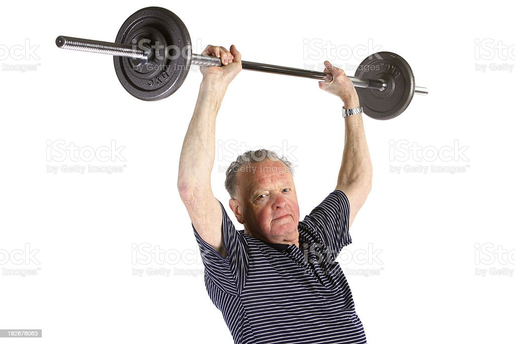 Senior lifting weights royalty-free stock photo