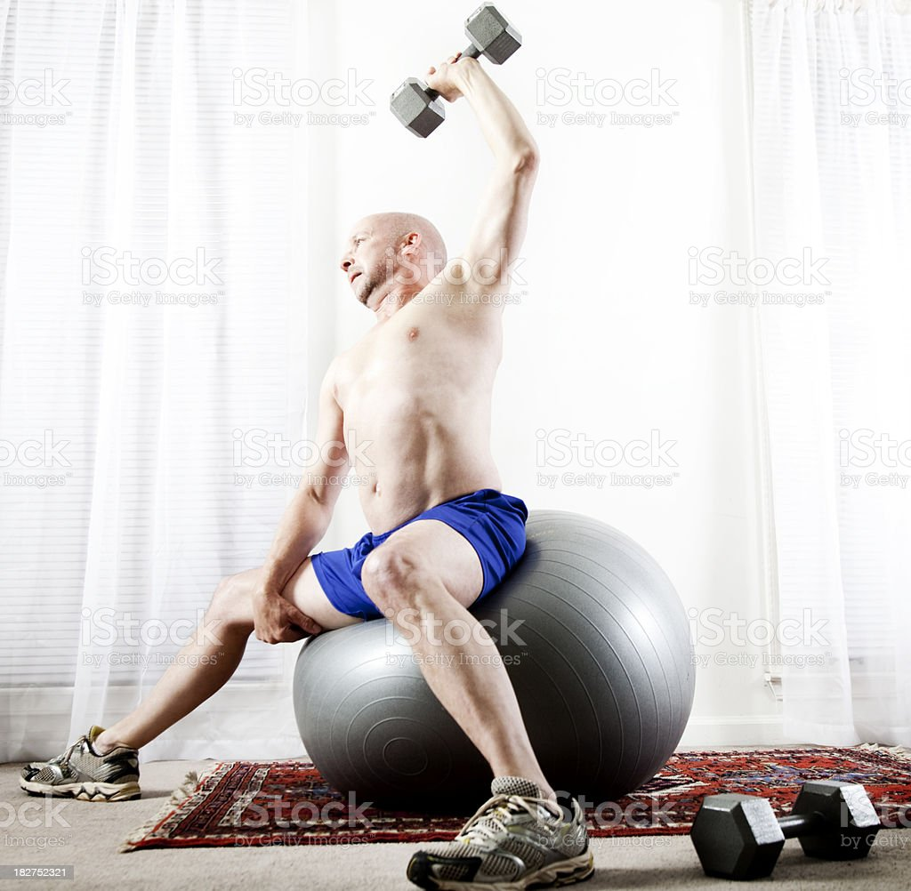Senior Lifting Weights royalty-free stock photo